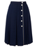 Blue Pleated Knee Length Skirt with White Buttons - S