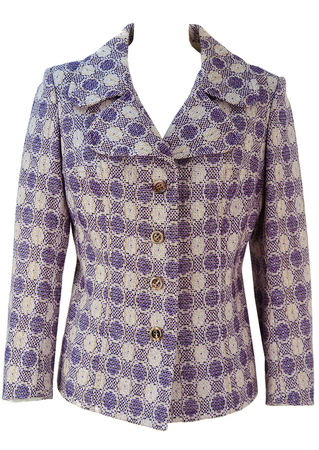 Vintage 1960's Purple & White Patterned Jacket - M/L