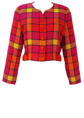 Cropped Jacket with a Pink, Orange & Yellow Check - M