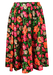 Black Knee Length Flared Skirt with Multi Colour Floral Print - S/M