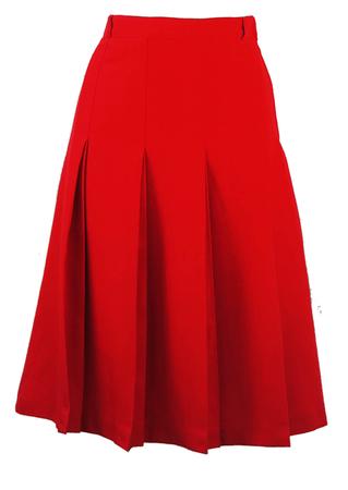 Red Double Pleat Detail Knee Length Skirt - S