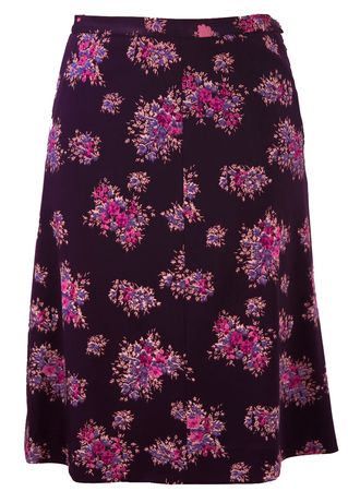 Vintage 1960's A Line Knee Length Purple Floral Skirt - S