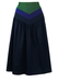 Navy Blue Flared Midi Skirt with Green & Purple Waistband - S