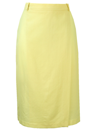 Cream Wrap Front Midi Skirt - S