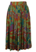Midi Pleated Skirt with Abstract Floral Pattern - S/M
