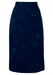 Electric Blue Midi Pencil Skirt with Floral Pattern - S
