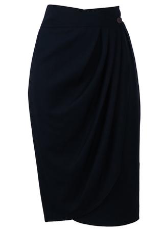 Navy Blue Wrap Front Tulip Skirt - M