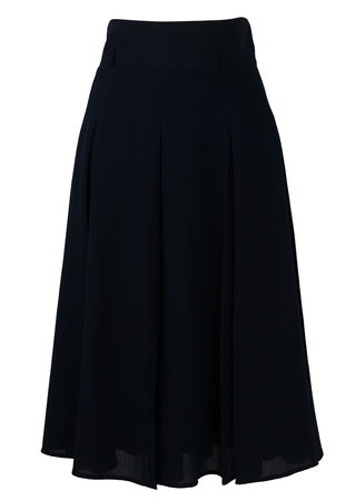 Navy Blue Flared Midi Skirt with Pleat Detail - S
