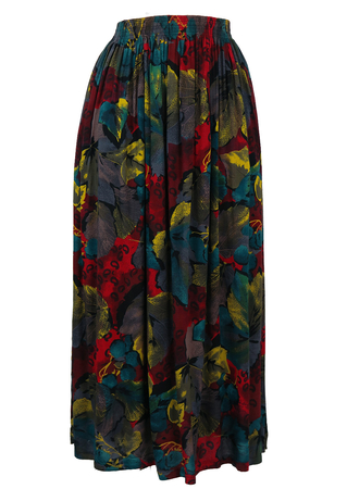 Maxi Skirt with Multi Coloured Abstract Leaf Print - M