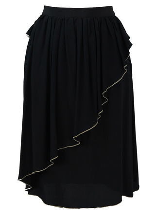 Black Knee Length Skirt with Asymmetrical Ruffle Detail - S