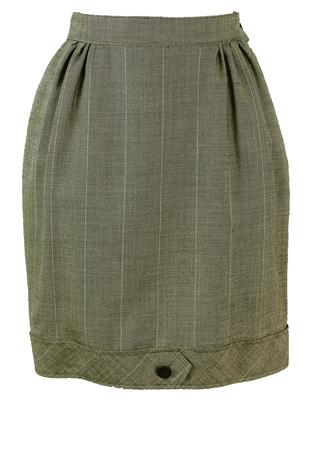 Grey Mini Skirt with White Stripe Detail - S