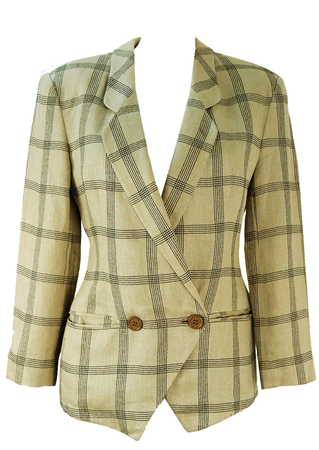 Mani Taupe & Black Check Linen Jacket - S