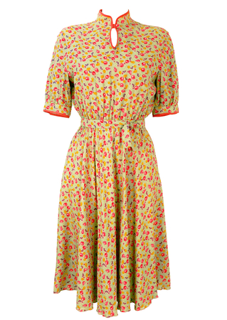1940's Style Tea Dress with Pink, Purple & Yellow Fruit Pattern - S/M