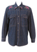 Dark Blue Denim Shirt with Painted Floral Pattern - M/L