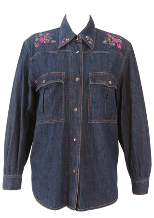 Dark Blue Denim Shirt with Painted Floral Pattern - M/L