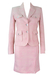Pink, Grey & White Two Piece Pencil Skirt & Jacket Suit - S