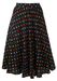 Black Midi Length Flared Skirt with Polka Dot Pattern - S/M