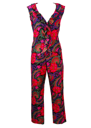 Vibrant Psychedelic Floral Patterned Trousers & Top - M