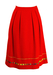 A-Line Midi Skirt in Red with Multi Colour Trim - S