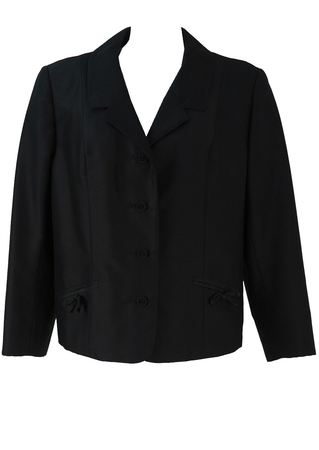 Vintage 1950's Black Jacket with Bow Detail Pockets - L