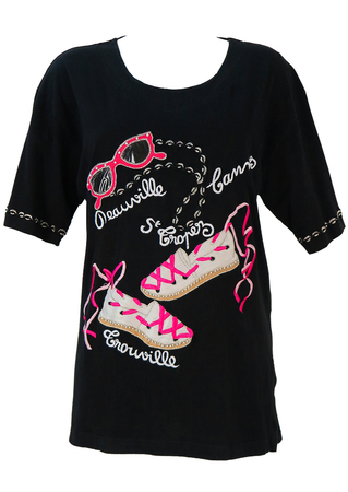 Black and Pink French Riviera Themed Applique T-shirt - M/L