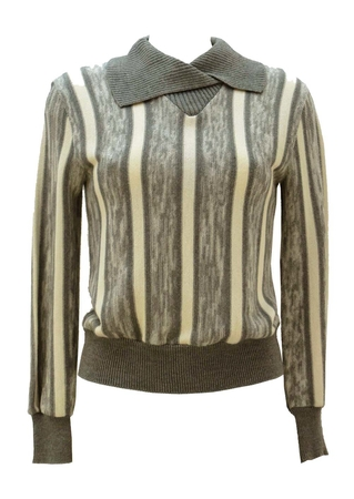 80's Grey and Cream Striped Jumper with Asymmetric Collar - S
