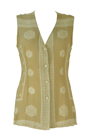 Sleeveless Camel Coloured Blouse with Intricate White Patterns - S/M