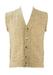 Sleeveless Beige V Neck Wool Cardigan with Interlocking Stripes Pattern - S/M