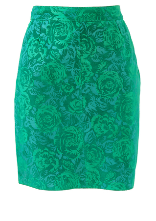Jade Green Suede Mini Skirt with Floral Flock Pattern - S