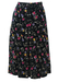 Black Midi Flared Skirt with Multi Coloured Tulip Pattern - S/M
