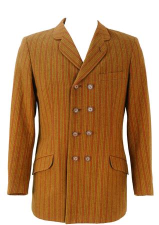 Vintage 1960's Mod Style Ochre & Russet Striped Blazer - M
