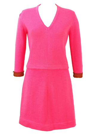 Vintage 1960's Bright Pink Knitted Jumper & Skirt Two Piece - S
