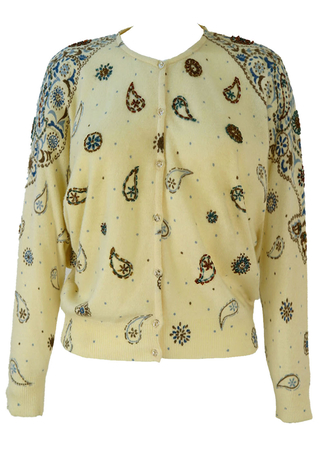 Vintage 1980's Cream Batwing Cardigan with Beaded Paisley Pattern - S/M