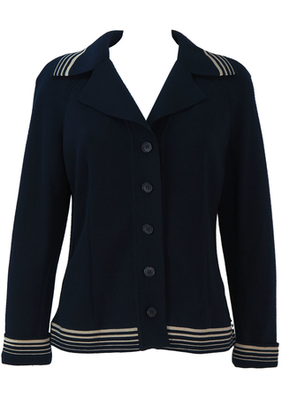 Navy Nautical Style Cardigan with White Stripes - M