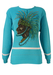 Turquoise Cotton Jumper with Tribal Imagery - M