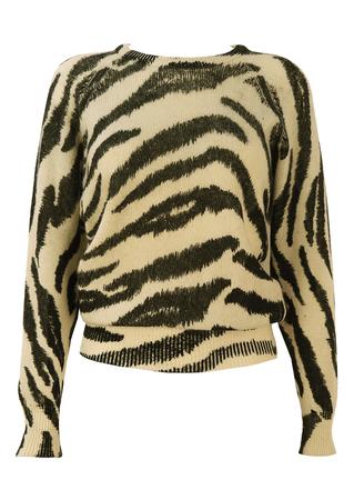 Black and White Zebra Print Jumper - S/M