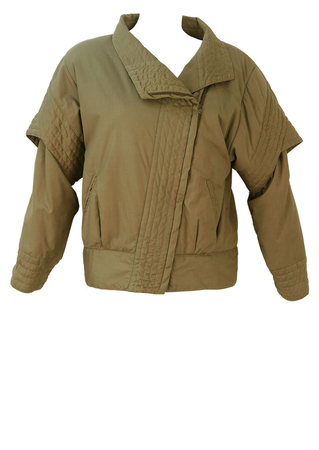 Taupe Padded Jacket with Layered Sleeve Detail - M