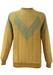 Beige Grid Pattern Sweatshirt with Grey V Shape Detail - M