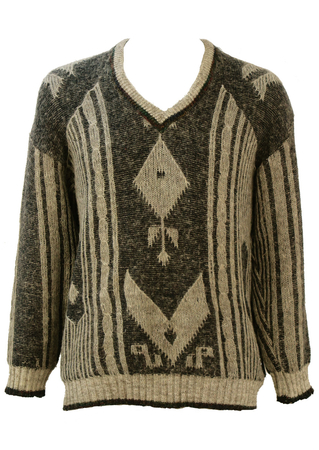 V Neck Wool Jumper with Charcoal & Light Grey Pattern - L