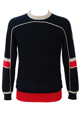 Fila Navy Blue Jumper with Red and White Stripe Detail - S/M
