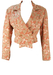 Pink, Taupe & Silver Floral Patterned Cropped Jacket - M