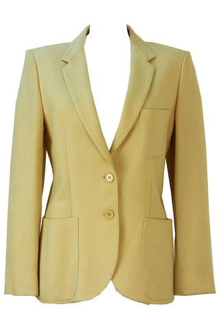 Textured Cream Lightweight Wool Blazer - M