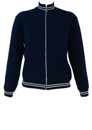 Navy Blue Track Jacket with White Stripes & Nautical Zip Fob - S/M