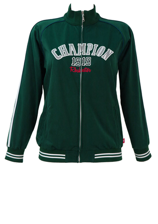 Champion Green Track Jacket with White Trim - S/M