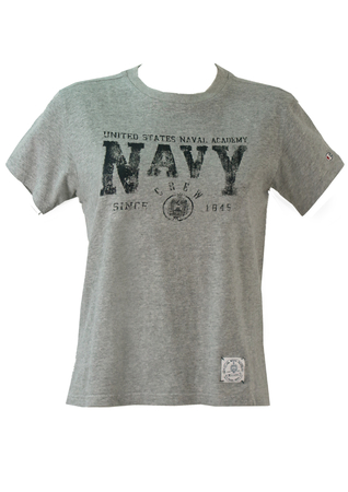 Grey Champion T-Shirt with Distressed 'Navy' Graphic - S/M