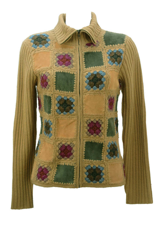 Camel Crochet & Suede Patchwork Pattern Cardigan - S/M