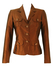Luisa Spagnoli Pure Silk Brown Jacket with Jewelled Buttons - S/M