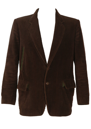 C.P. Company Brown Corduroy Jacket with Olive Green Suede - M/L