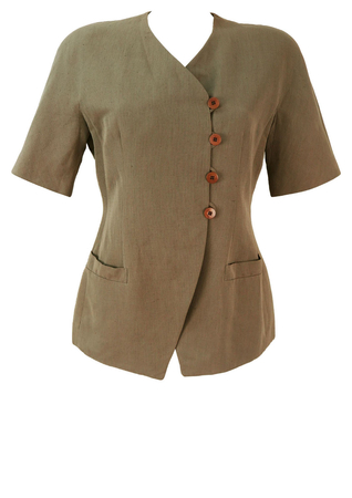 Mani Short Sleeve, Taupe Coloured Linen Jacket - M