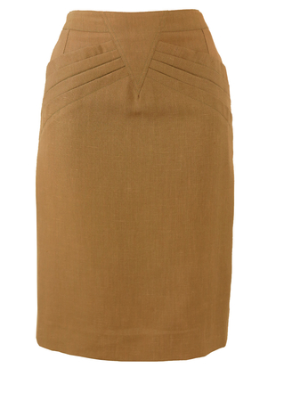 Taupe Knee Length Pencil Skirt with Decorative Waistband - S